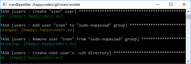 "User ""sven"" is added to the group ""sudo-nopasswd"