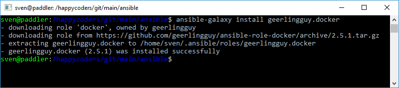 "Installing ""geerlingguy.docker"" from the Ansible Galaxy"