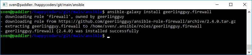 "Installation der Rolle ""geerlingguy.firewall"" aus der Ansible Galaxy"