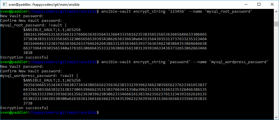Encrypting passwords with ansible-vault