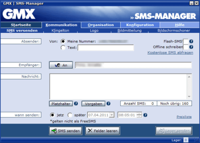 GMX SMS-Manager