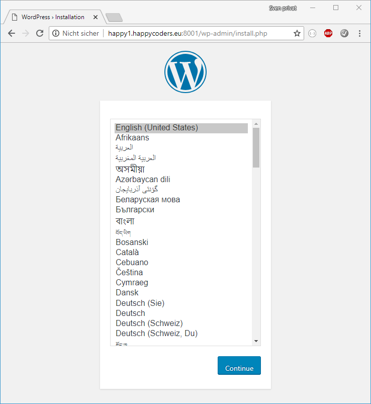 WordPress is installed and ready for configuration