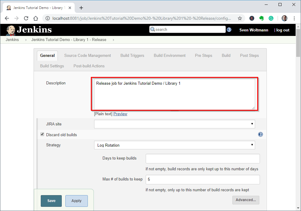 Creating a Jenkins release job - step 2