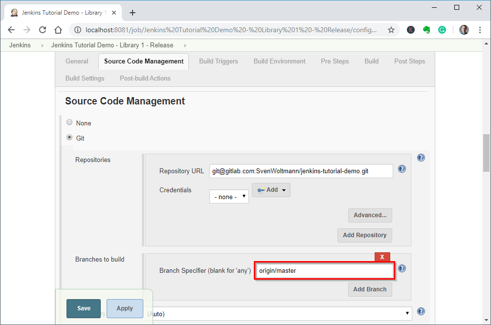 Creating a Jenkins release job - step 4