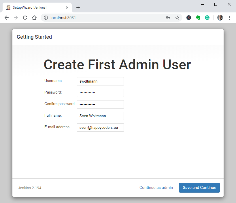 Jenkins Setup Wizard – Create first admin user
