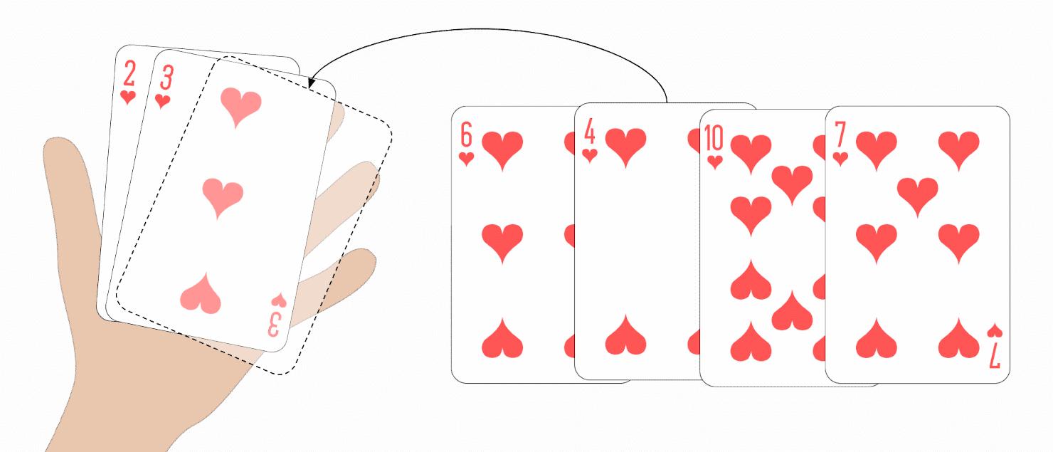 Selection Sort Beispiel mit Spielkarten
